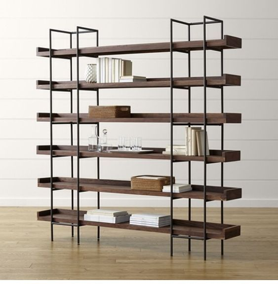 Metal and wood shelving